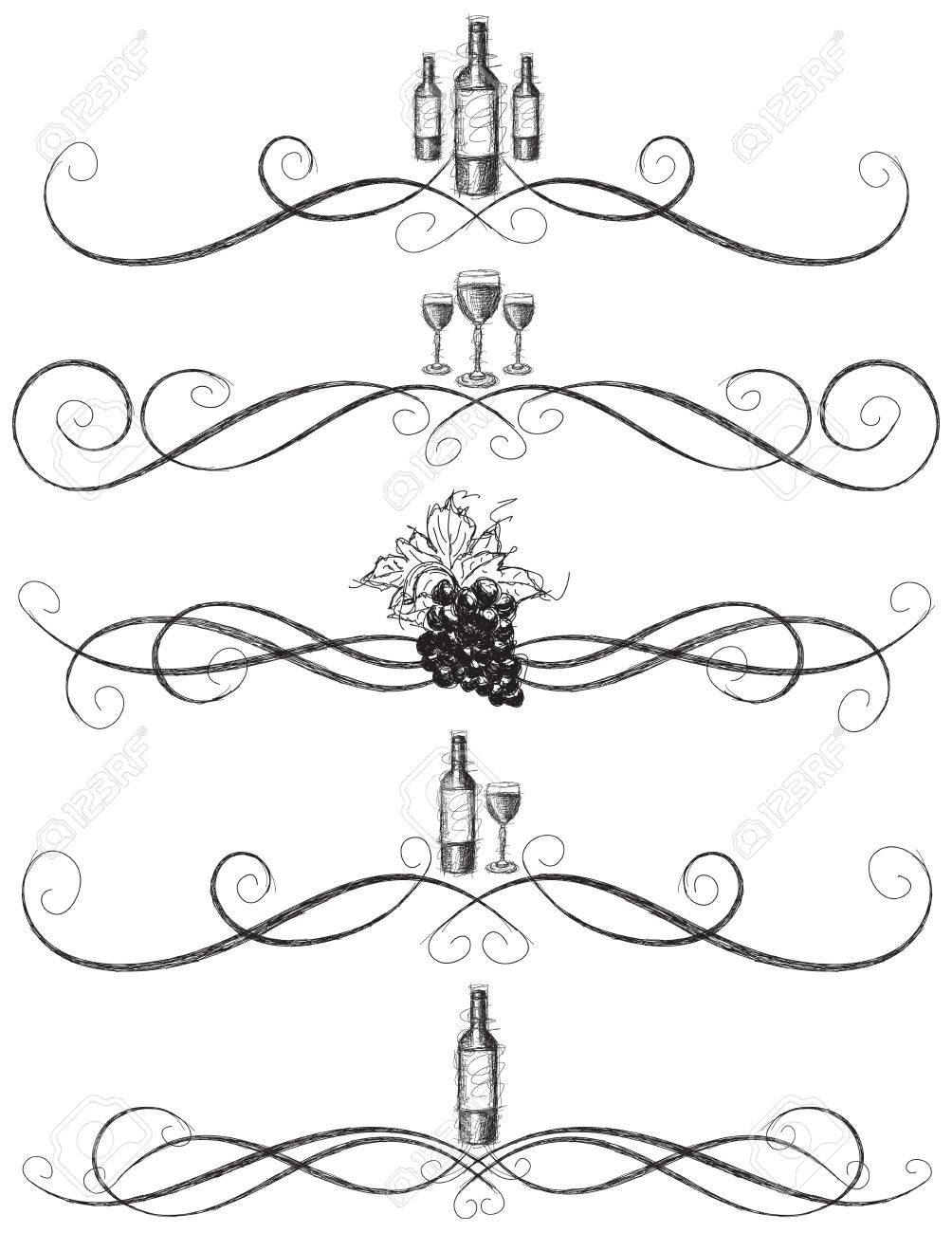 Sketchy wine scrollwork, Sketchy, hand drawn wine bottle, wine glasses, and grapes with decorative vine scrolls - 36929292