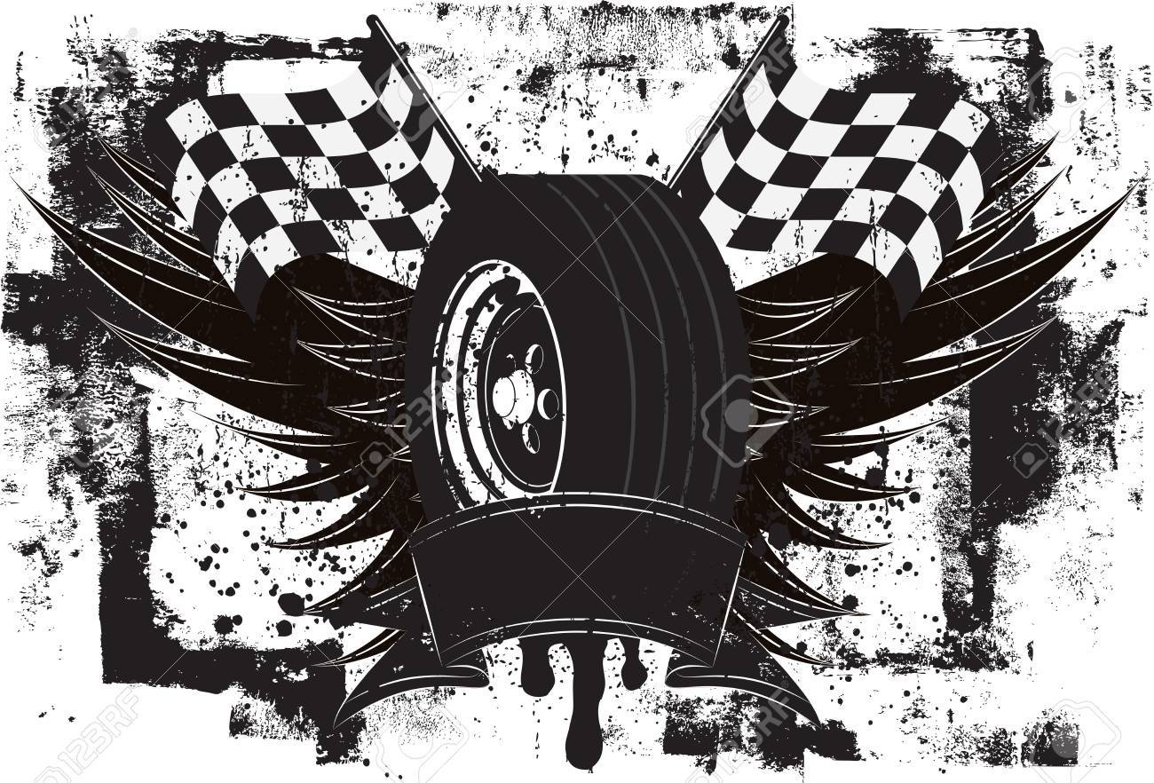 Racing Wings Insignia, A race car tire in front of wings and a checkered flags over a grunge background. - 37267264