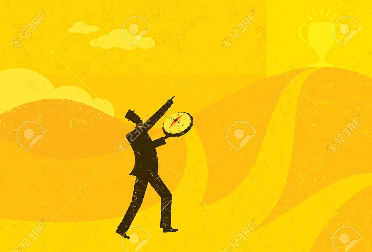 Heading in the Right Direction, A businessman using a compass to help him find the right direction to achieve his goal. The man and background are on separate labeled layers. - 37451865