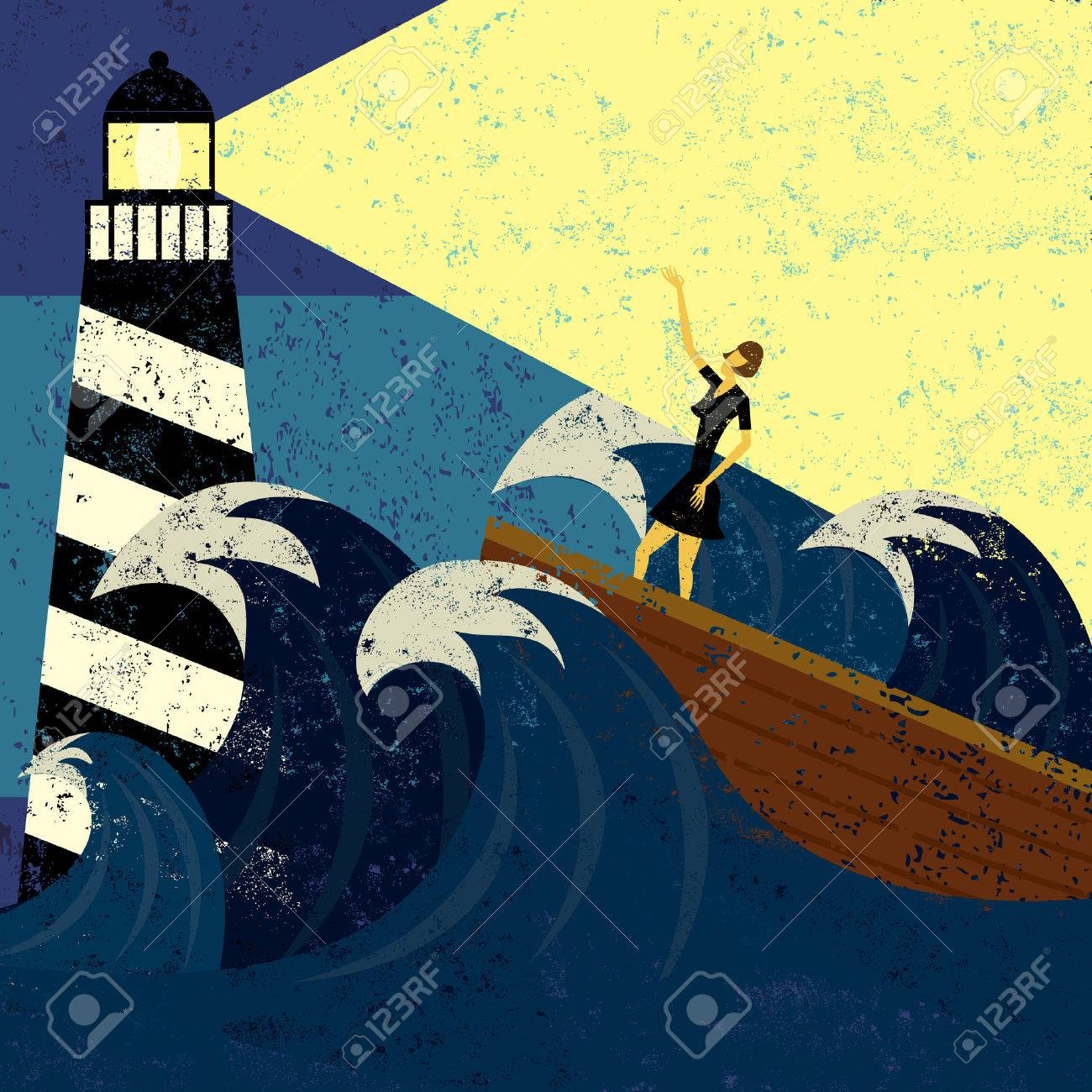 Guidance in Stormy Seas, A lighthouse providing guidance to a boat in a stormy sea. The lighthouse, woman & boat, and the waves are on a separate labeled layer from the background. - 37451912