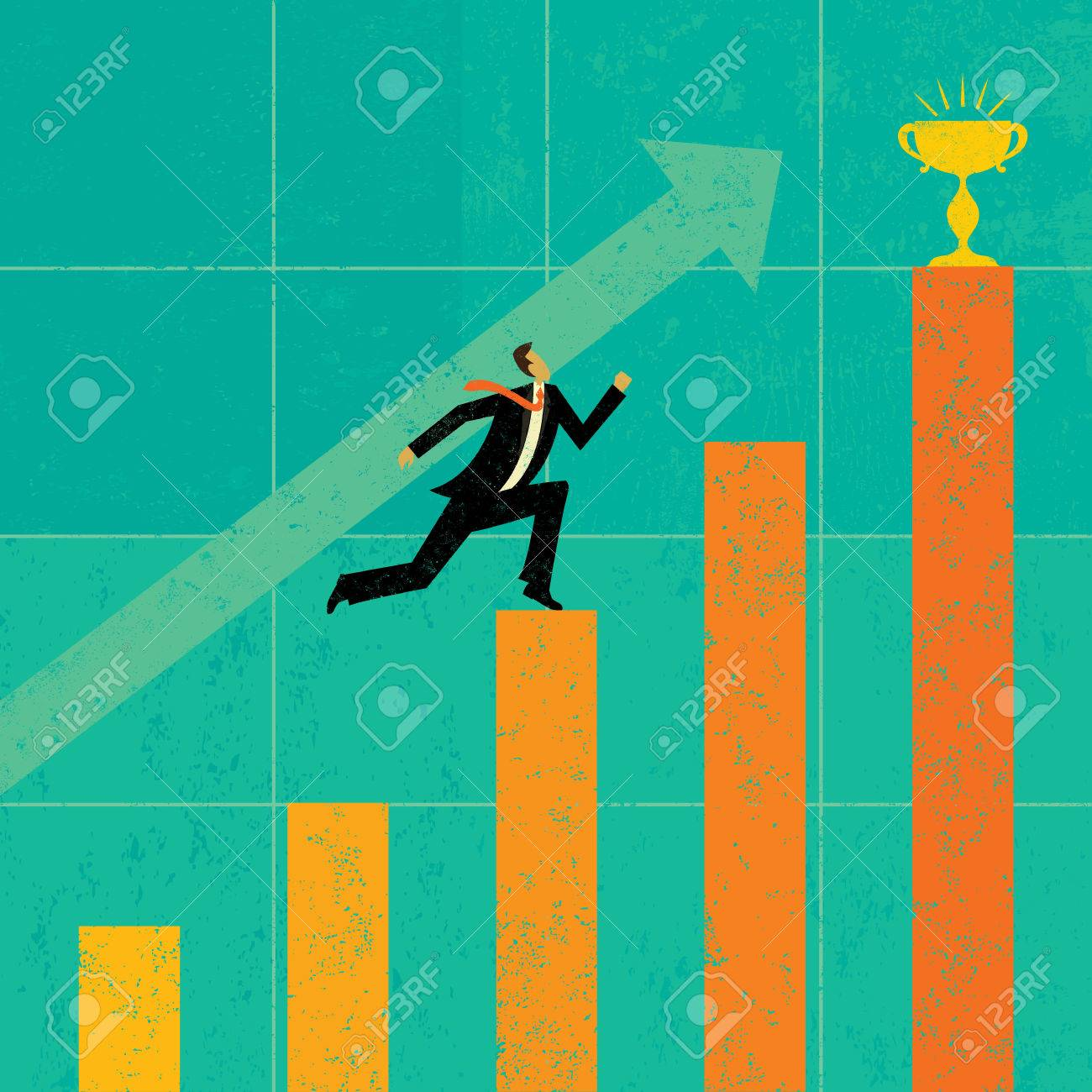 Striving for Higher Profits, A businessman striving to achieve his goal of higher profits. The man & bar graph and background are on separate labeled layers. - 37751787