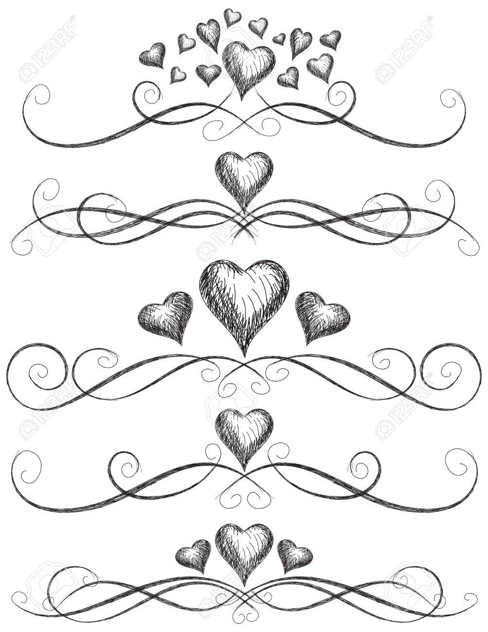 heart scroll work sketchy hearts with page rules royalty free