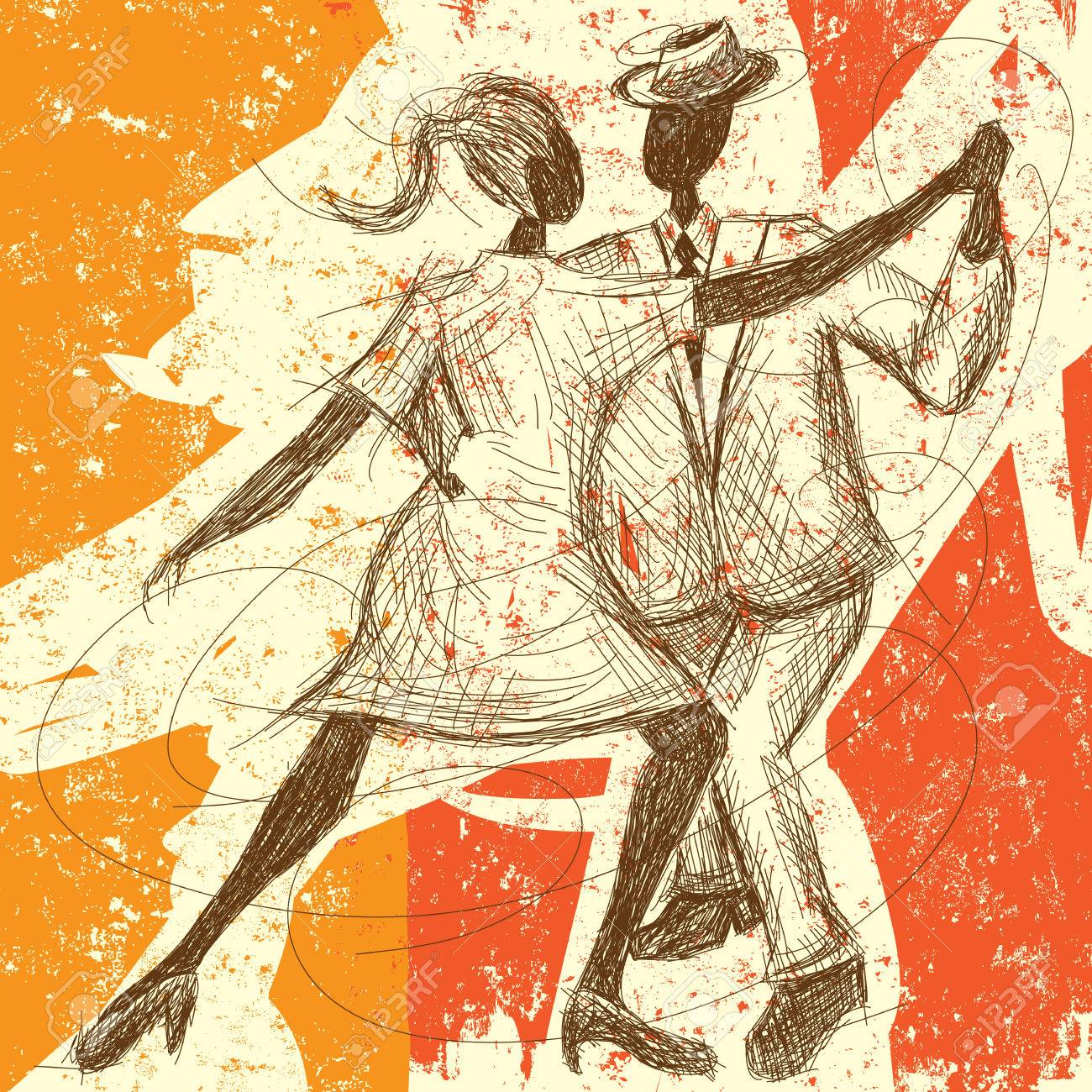 Tango Couple, A sketchy, hand-drawn couple dancing the tango over an abstract background. - 37973547