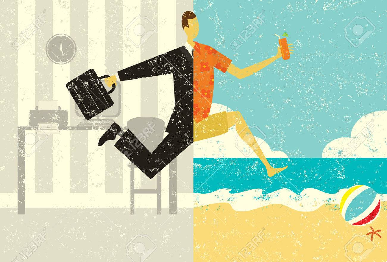 Transition to Vacation, A businessman with a briefcase making a split image transition, from the suit and the office, to casual clothes on a beach vacation. The man, office, and beach are on separate labeled layers. - 38422359