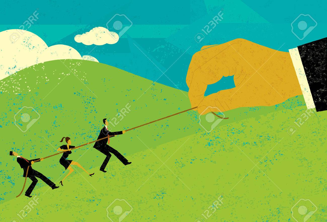 Tug of War, A large hand of big business competing for market share with small business people in a tug-of-war battle.The people & hand and rope are on a separate labeled layer from background. - 38422364