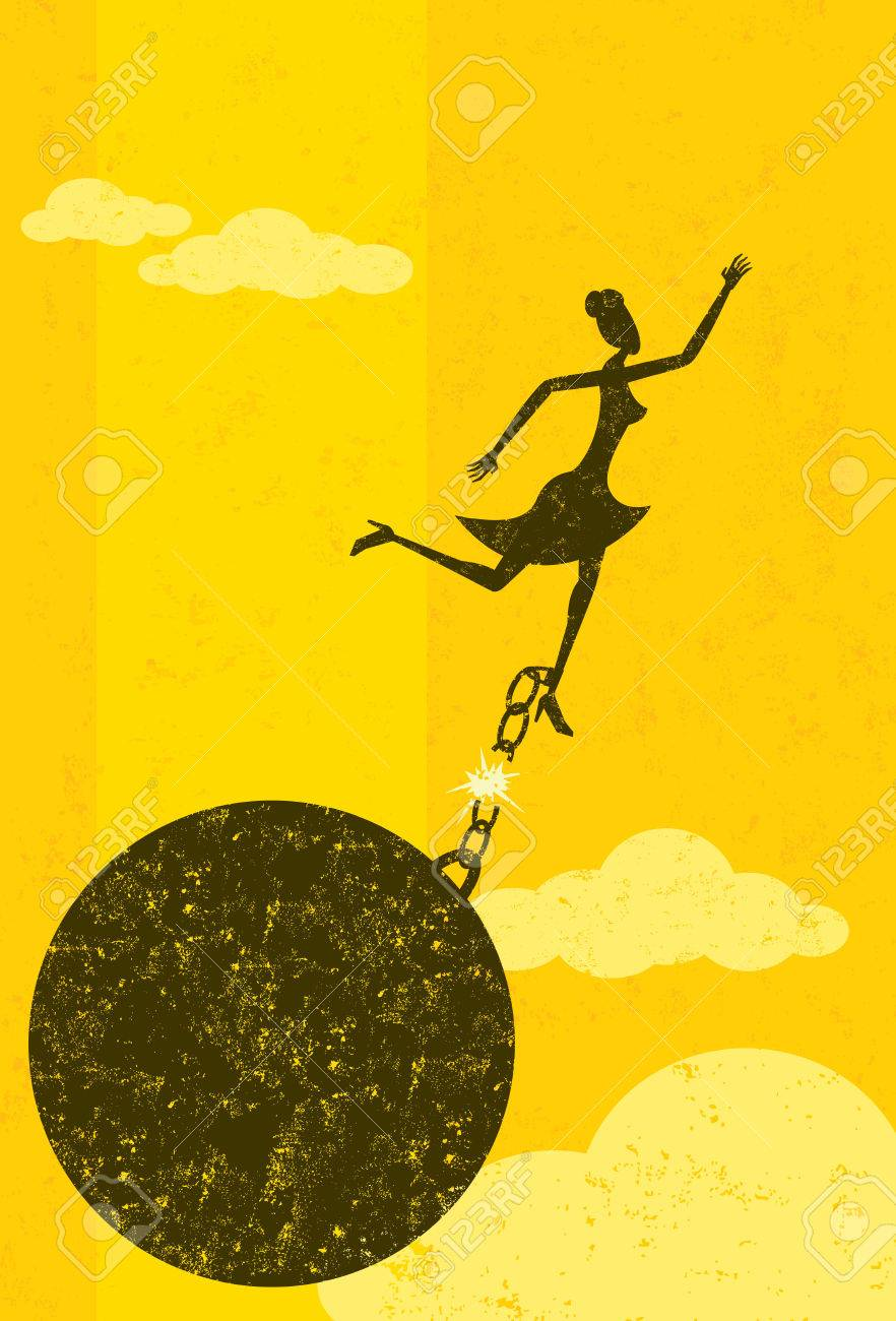 Breaking free from the ball and chain, A businesswoman escaping from her ball and chain. The woman with ball & chain and the background are on separately labeled layers. - 38423009