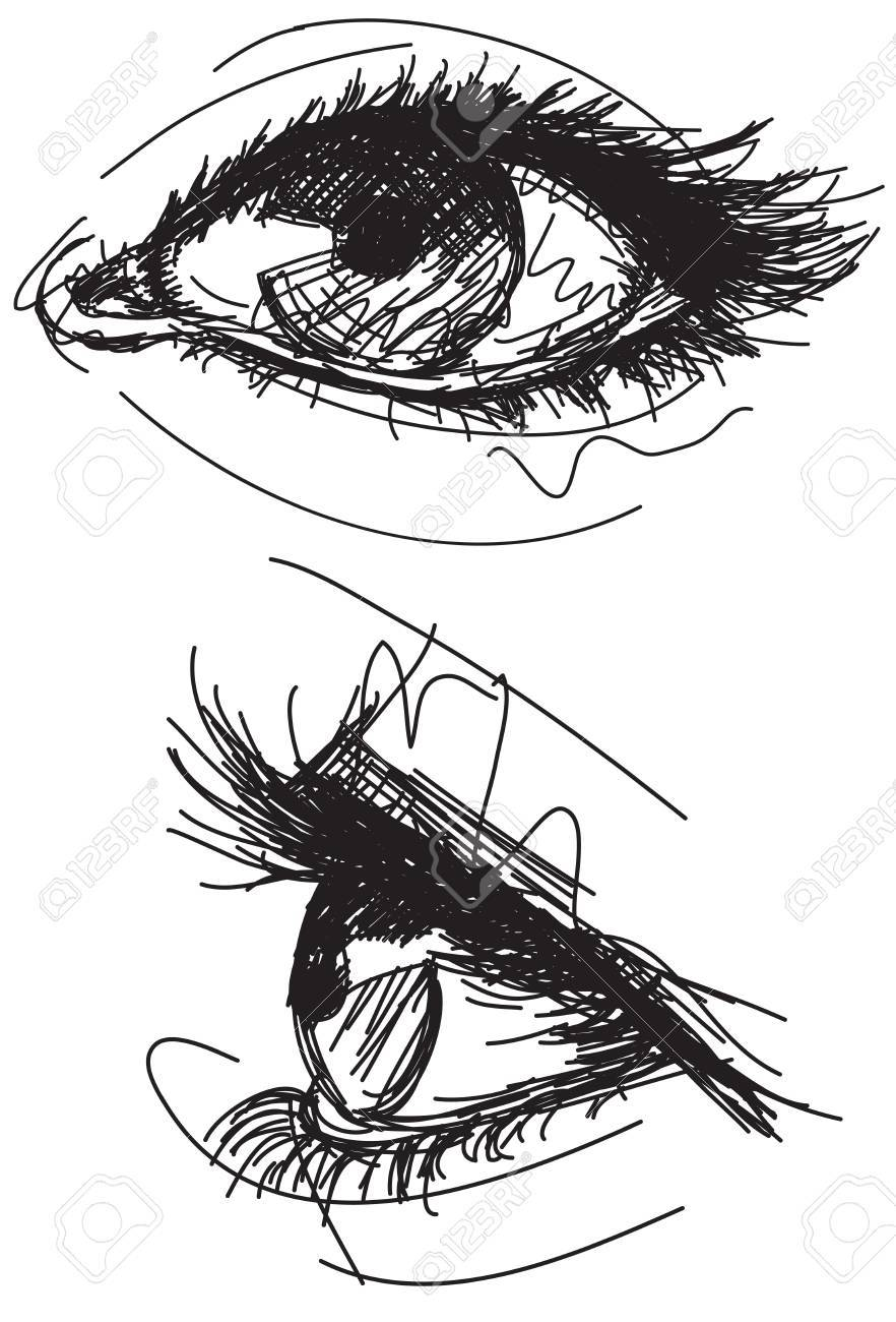 Sketchy female eyes - 41713287