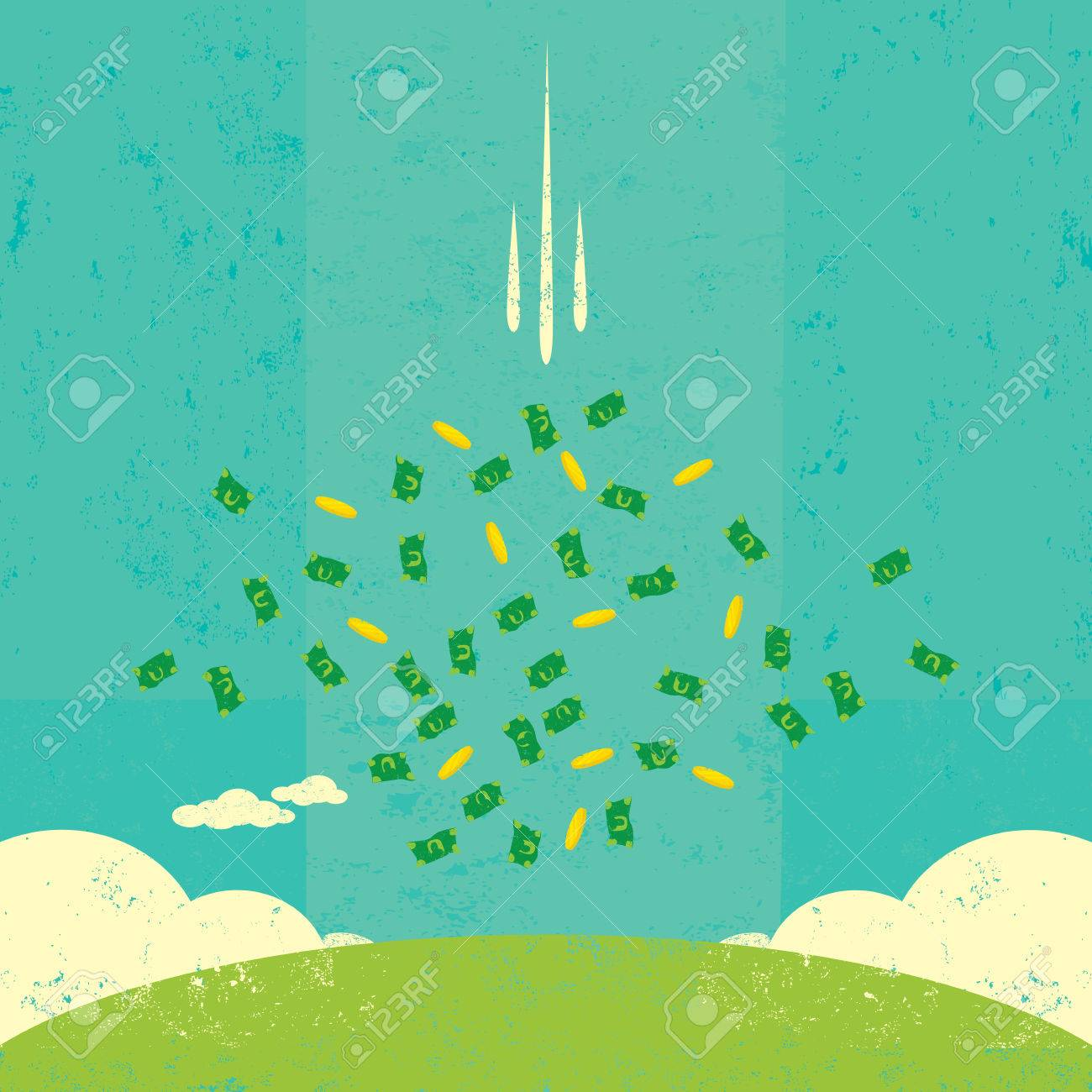 Money Raining Down From The Sky Royalty Free Cliparts Vectors And