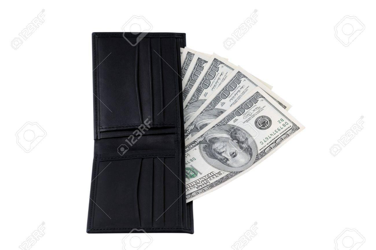 5b3746954 Cuero negro billetera llena de dólares de EE.UU. de 100 proyectos de ley