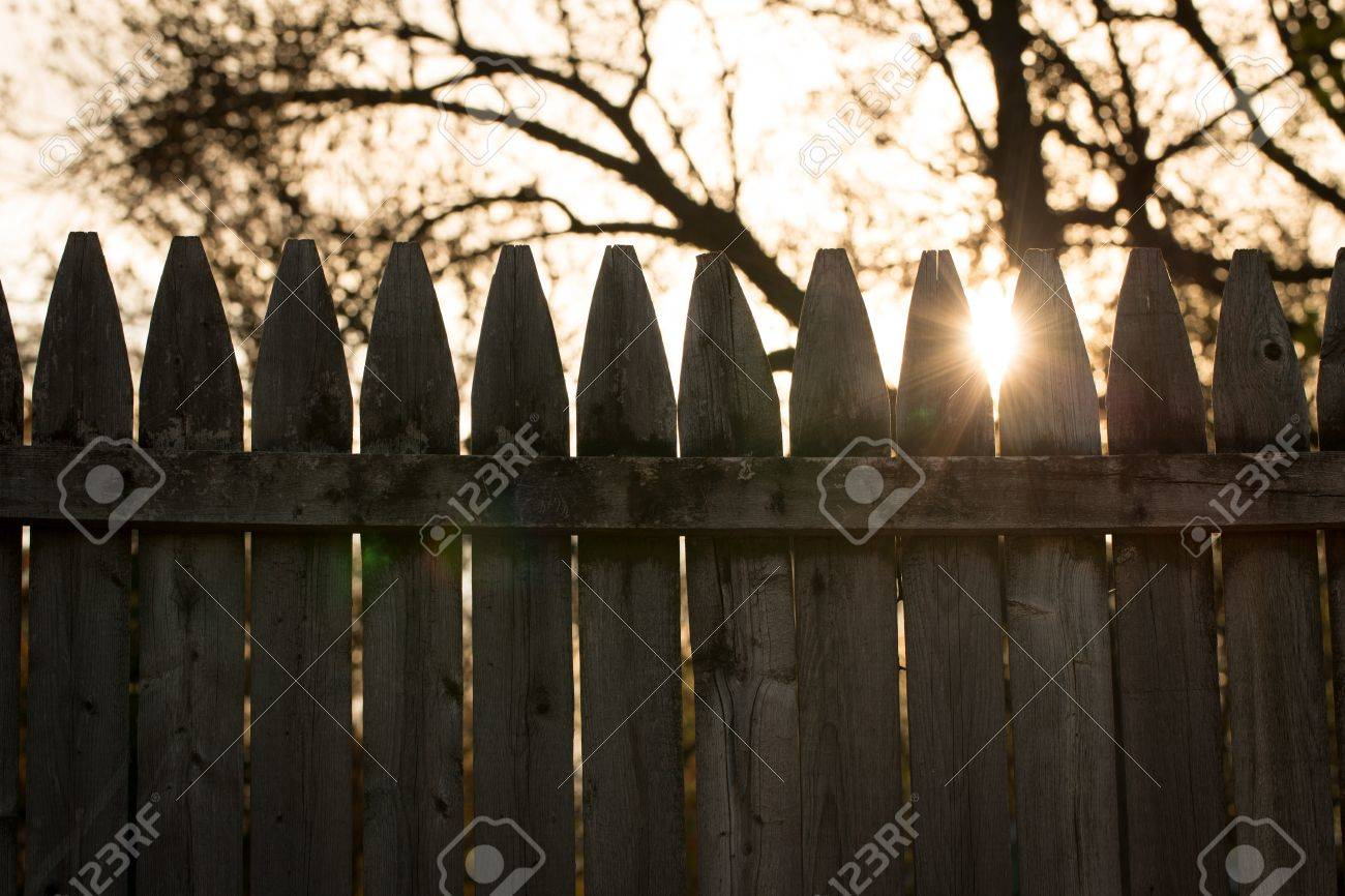 Uncategorized Old Fencing the sun peeks through tips of an old fence vintage styled background stock photo 19551782