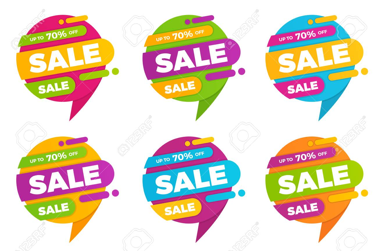 set of colorful speech bubble sale designs banners price tags