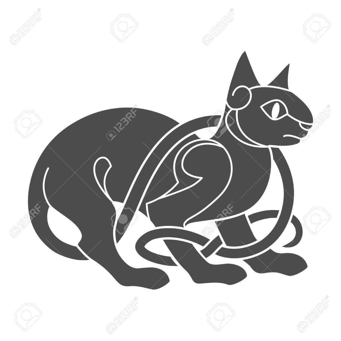 Ancient Celtic Mythological Symbol Of Cat Royalty Free Cliparts