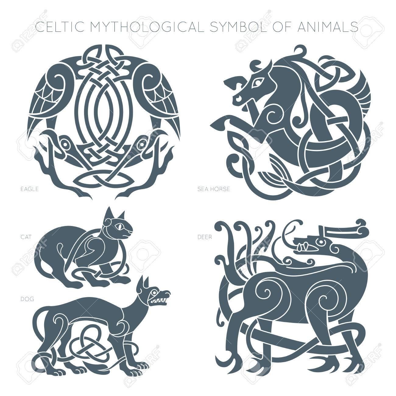 Ancient Celtic Mythological Symbol Of Animals Vector Illustrati