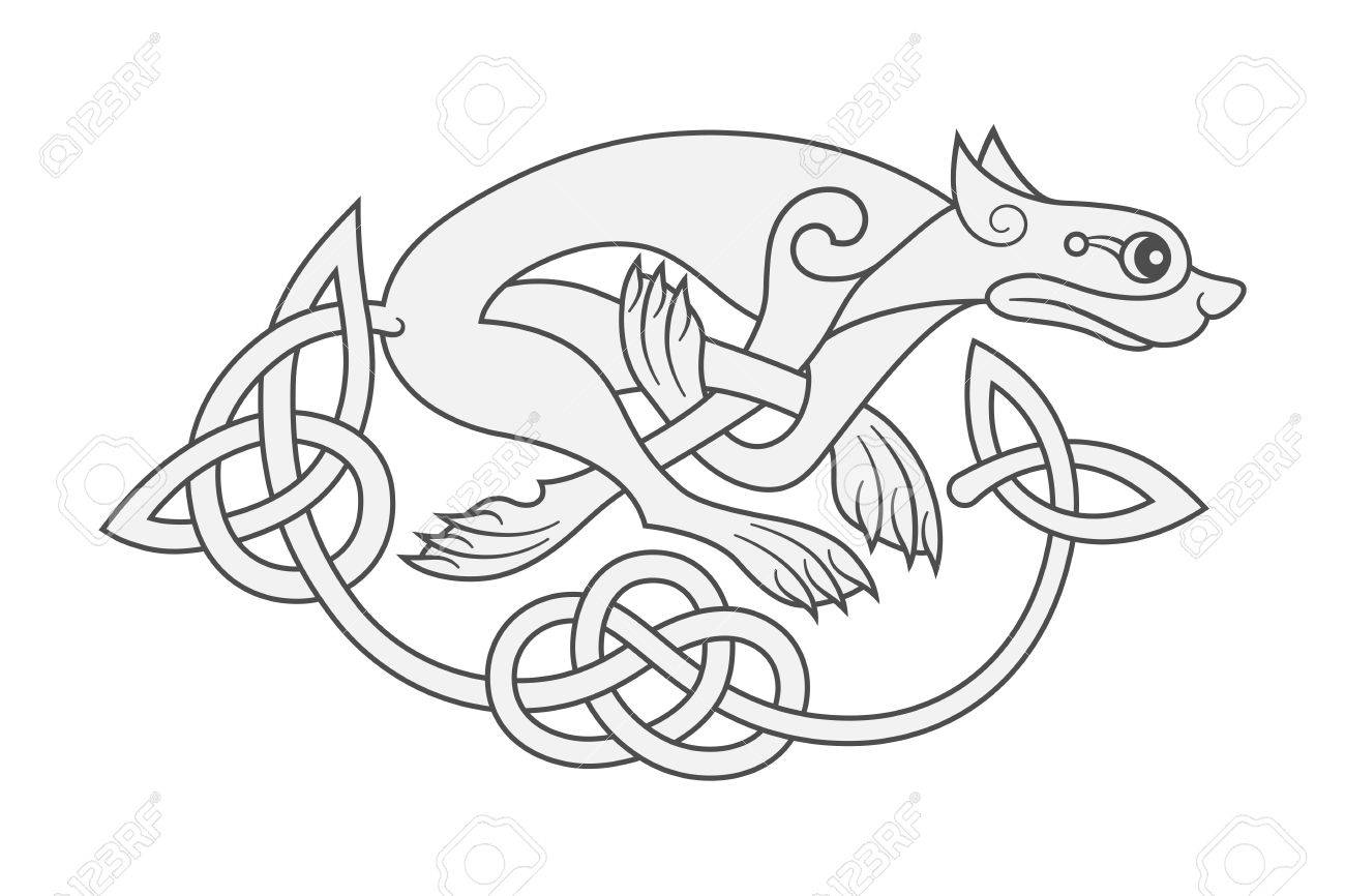 Ancient Celtic Mythological Symbol Of Wolf Dog Beast Vector