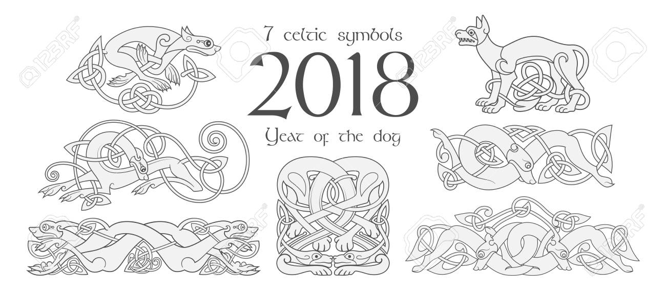 Set Of Celtic Symbols Of Dogs Design Elements In Tribal Style