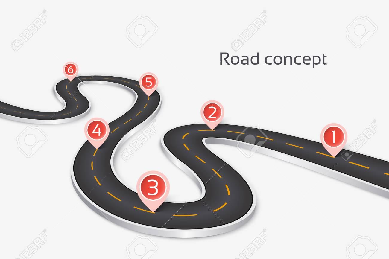 Concepto De Infografía Del Camino 3d De Enrrollamiento En Un Fondo ...
