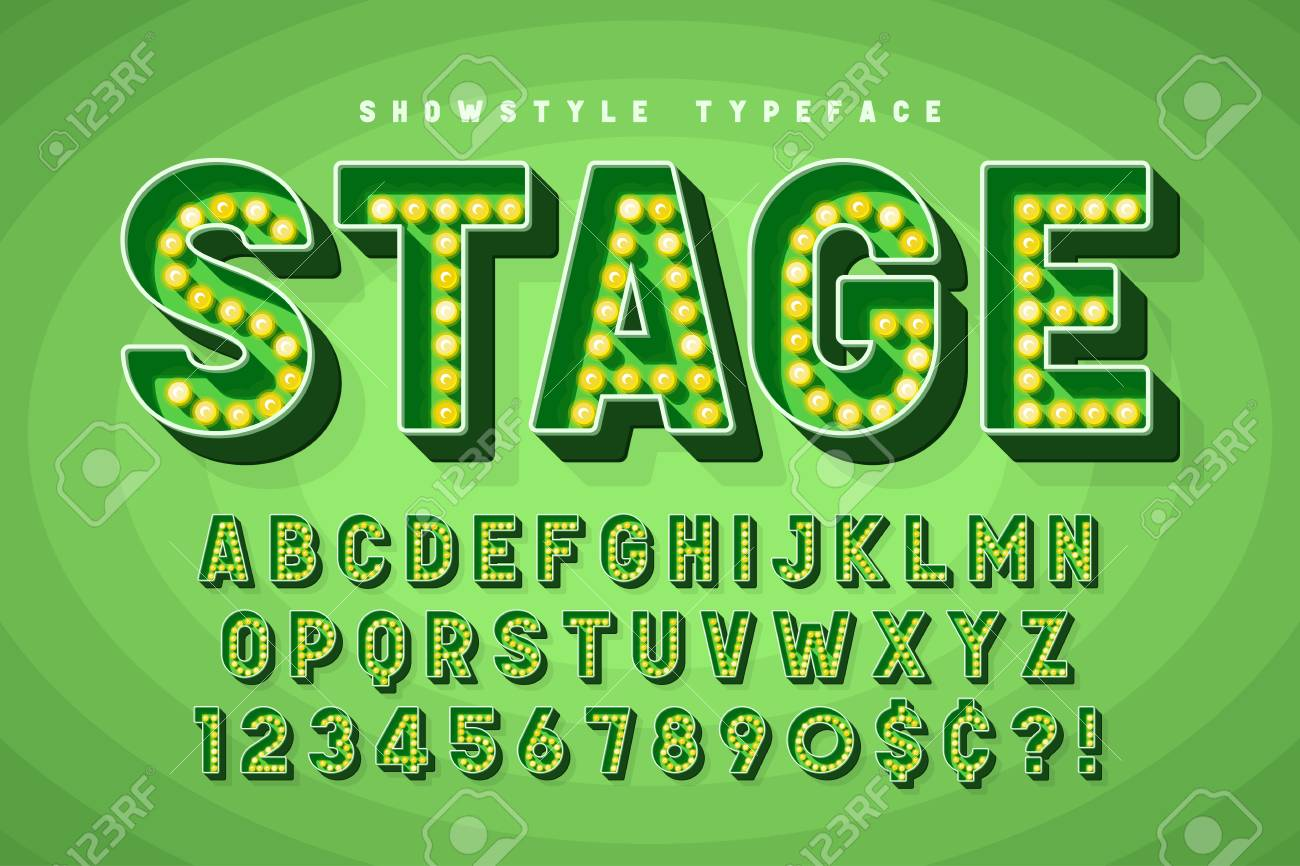 Retro Cinema Font Design Cabaret Broadway Letters Royalty Free Cliparts Vectors And Stock Illustration Image 114953317