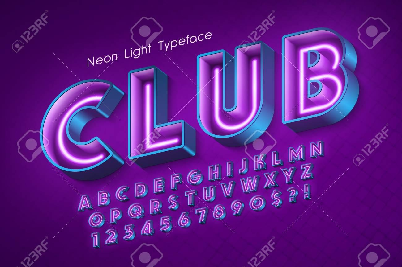 Neon light 3d alphabet, extra glowing font. - 114953333