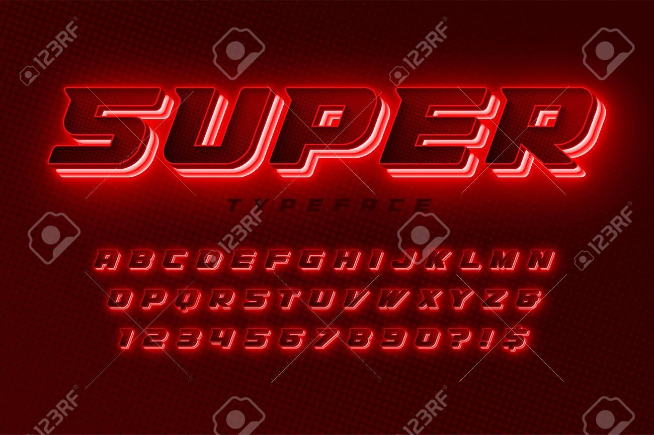 Futuristic dynamic alphabet, extra glowing space design - 150339526