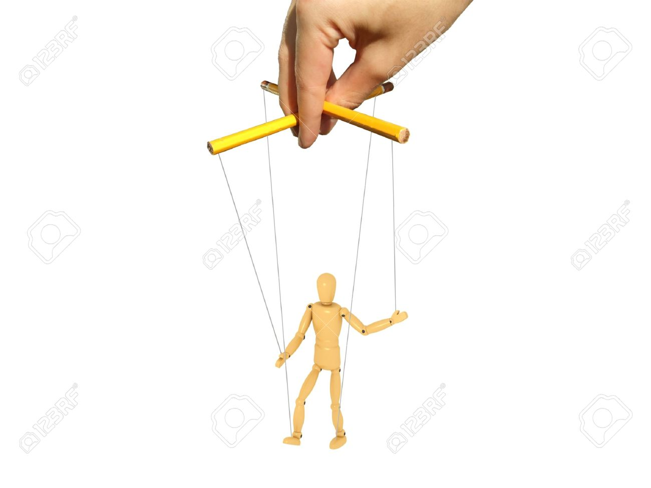 A 3d image of puppet and photograph of master hand. Stock Photo - 10785774
