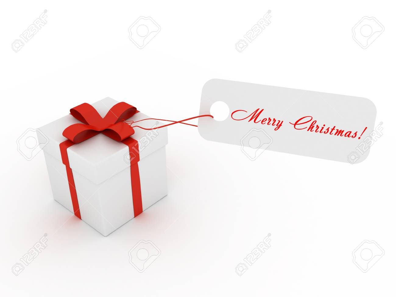 3D Image Of Present With Ribbons And Merry Christmas Card Stock ...