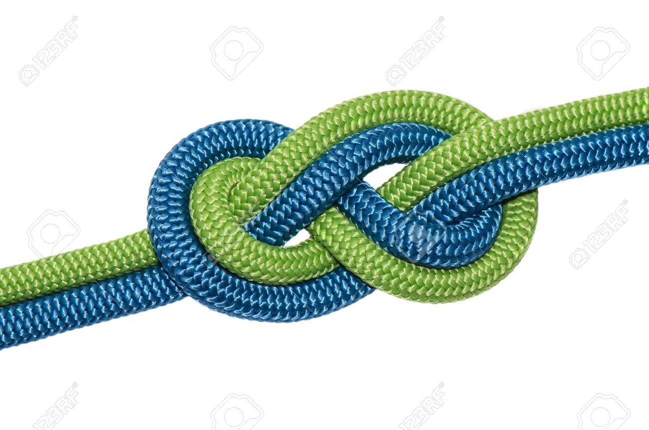 node eight of two ropes of blue and green. Isolated on white background. - 121501009