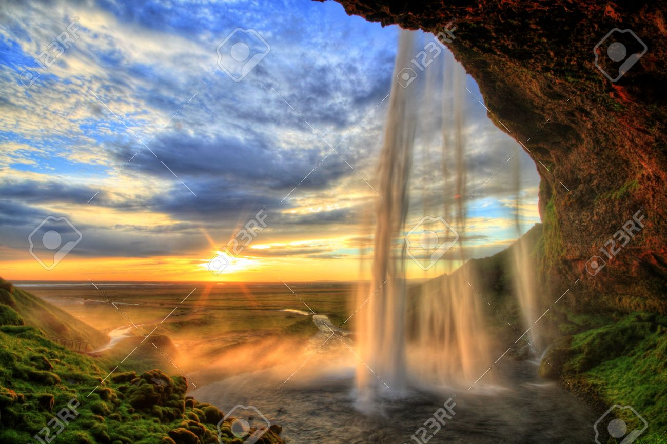 Seljalandfoss waterfall at sunset in HDR, Iceland - 14872824