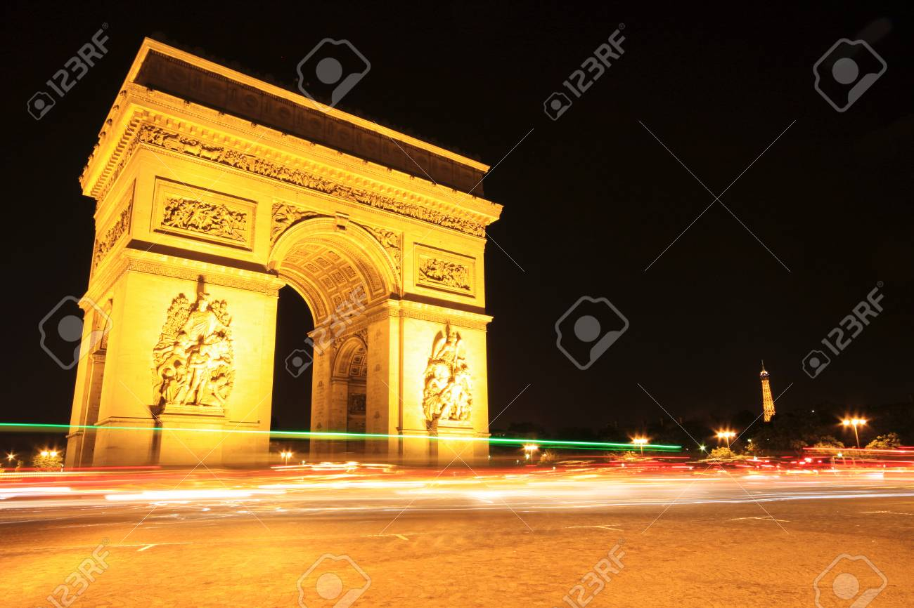 arc de triomphe at night paris stock photo picture and royalty
