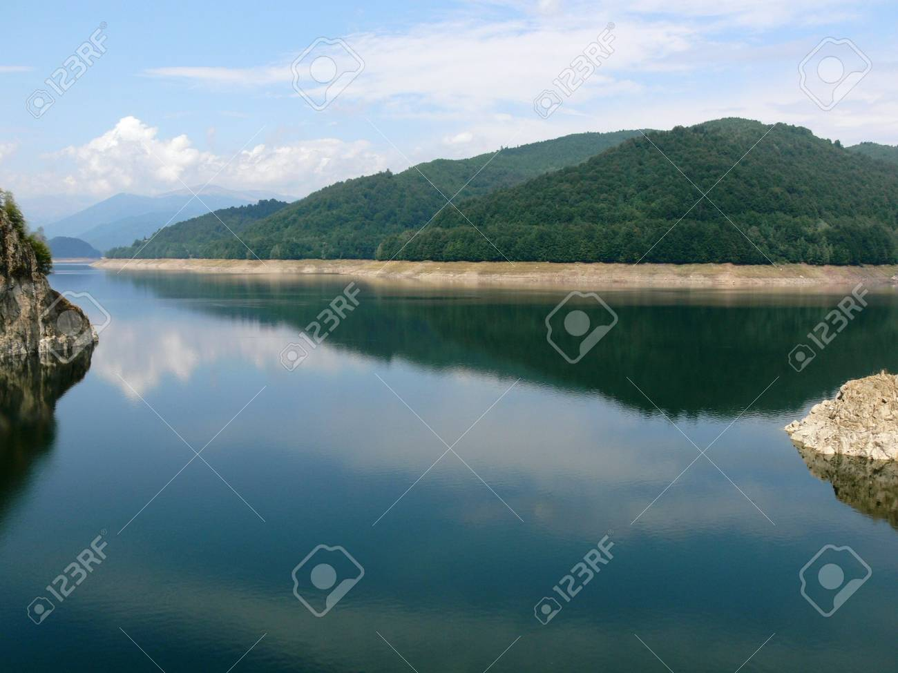 Beautiful view of a mountain lake, in a sunny summer day Stock Photo - 6791598