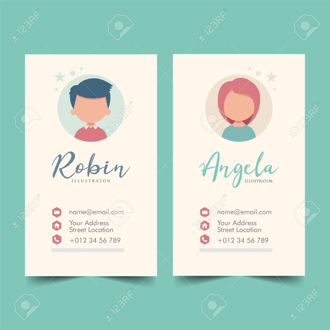 Cute Business Cards Template Vector Illustration Royalty Free