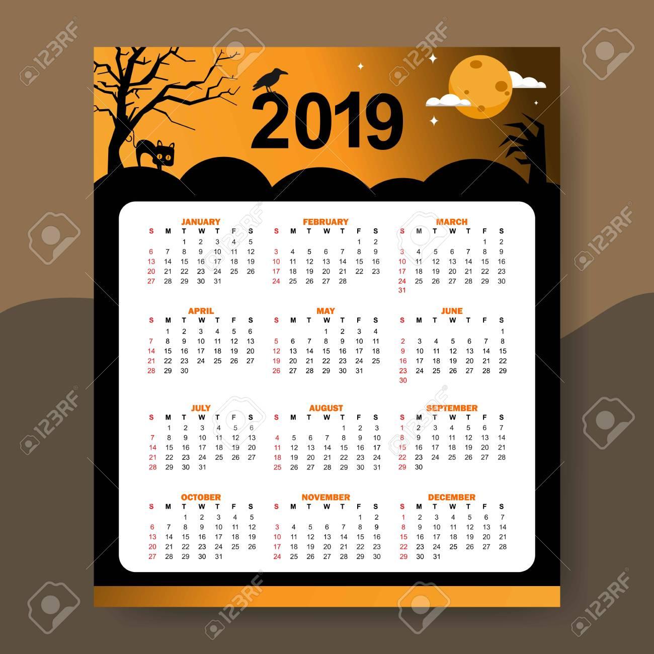 Halloween Calendar 2019 Calendar 2019 Halloween Theme Design Template Vector Illustration