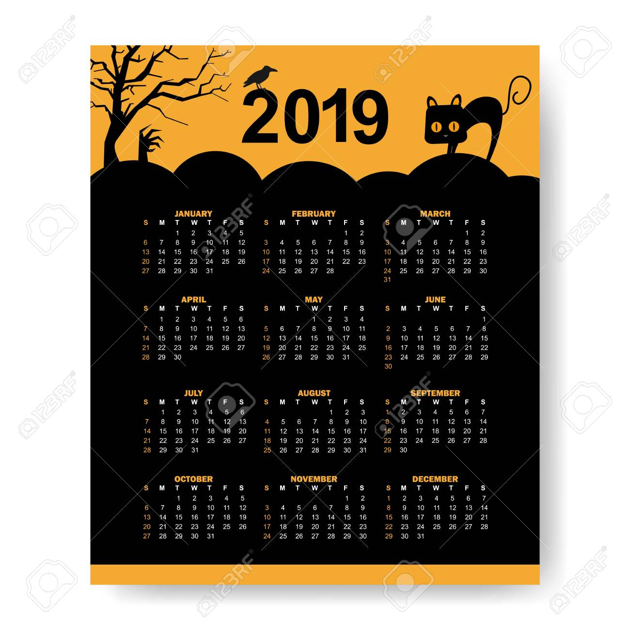 Halloween 2019 Calendar Calendar 2019 Halloween Theme Design Template Vector Illustration