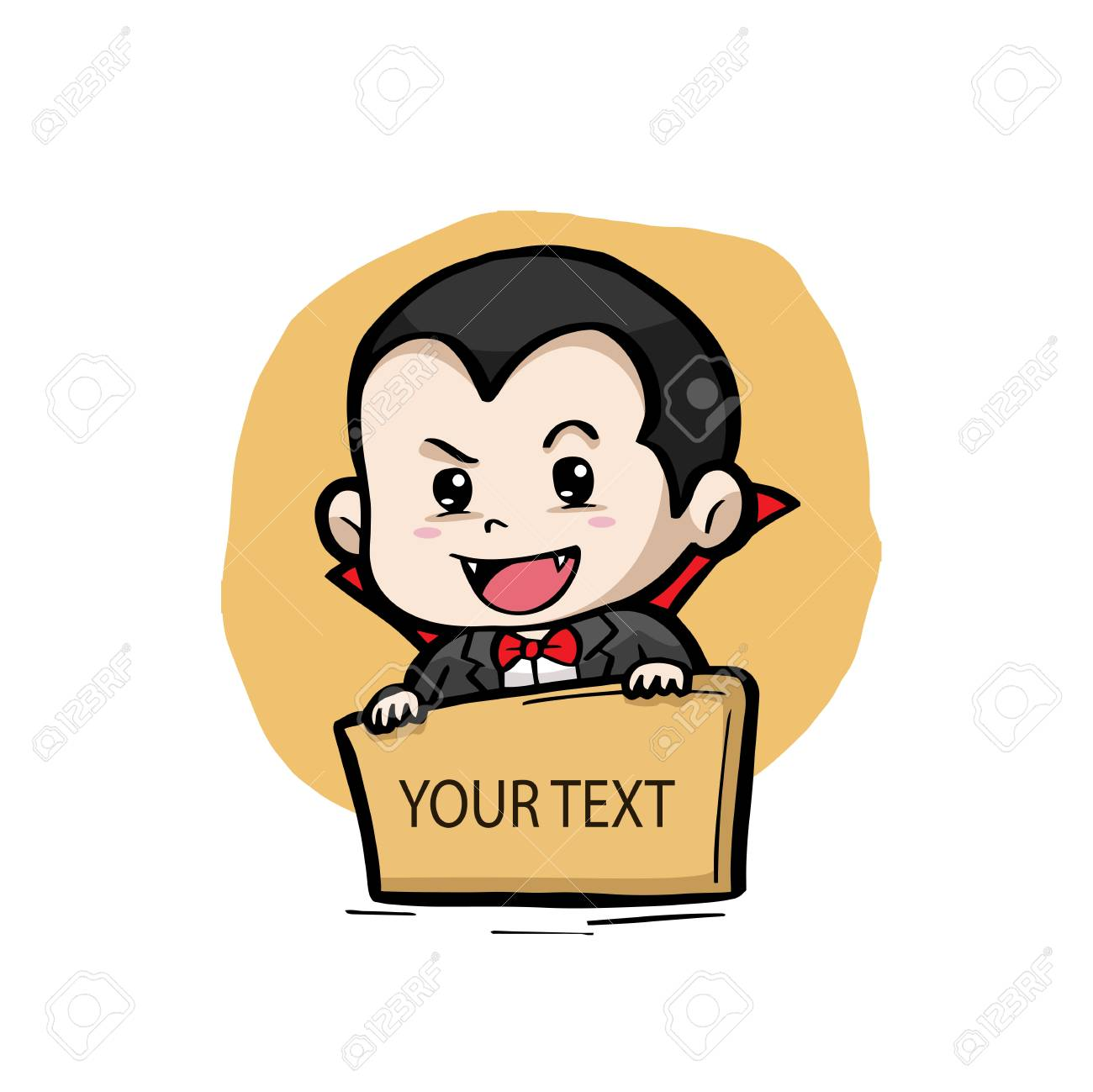 Dracula with a text board halloween theme vector illustration