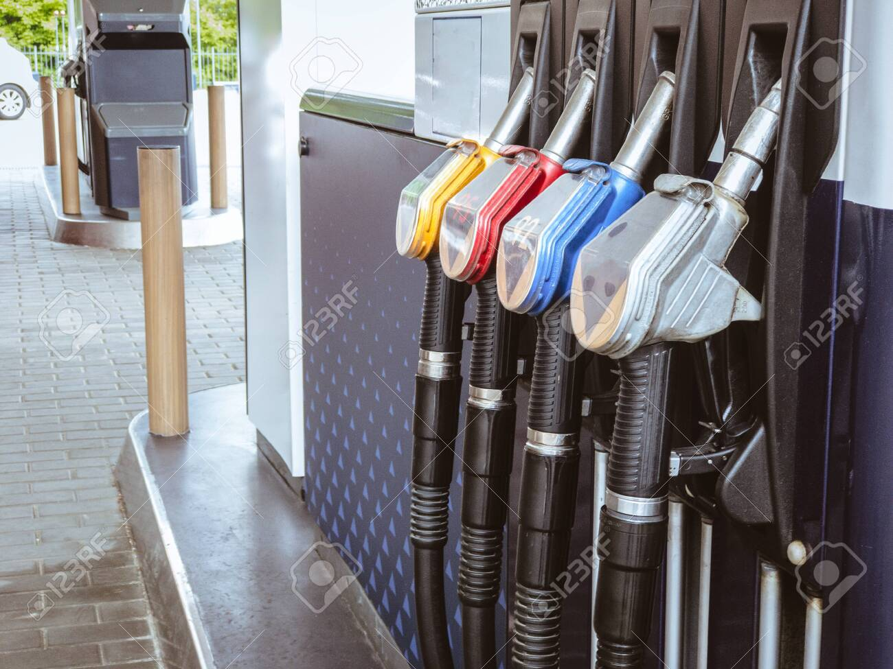 Gas Petrol station with fuel gasoline dispensers background - 149725126