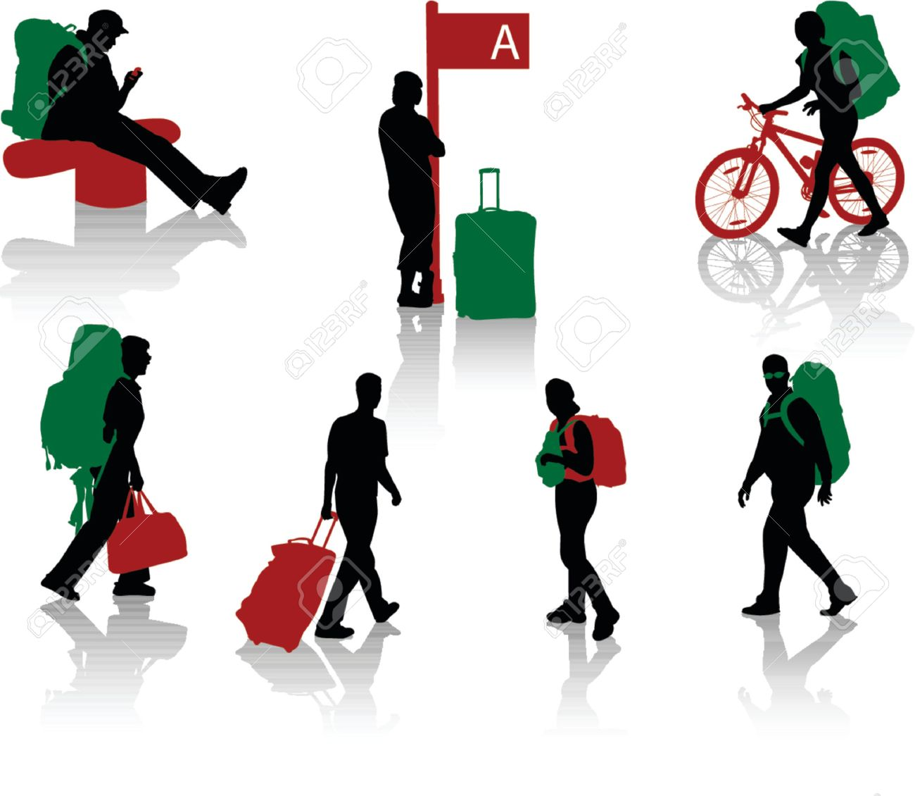 Silhouettes of tourists with luggage Stock Vector - 979542
