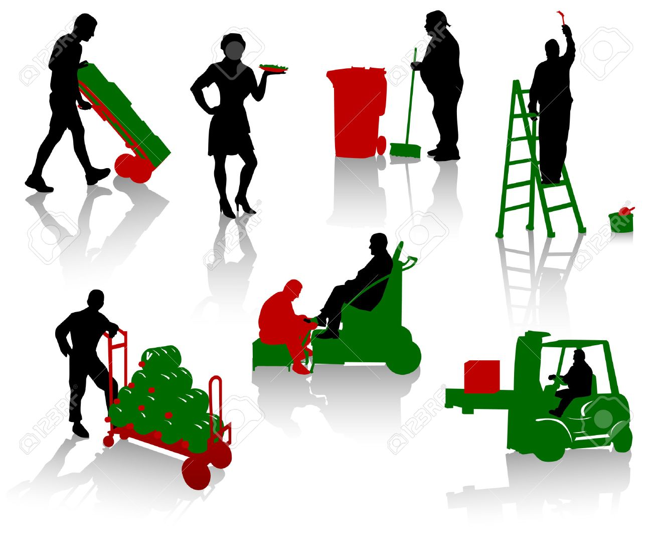 Silhouettes of people of different trades Stock Vector - 1558165