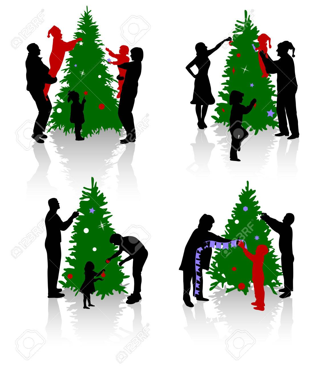 People Decorating For Christmas silhouettes of the people decorating a christmas tree. royalty