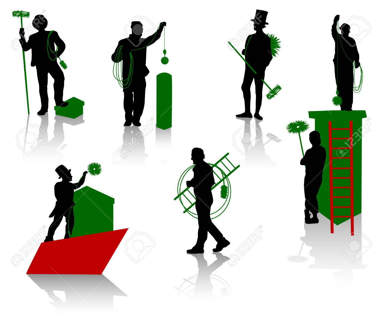 Silhouettes of the chimney sweeps Stock Vector - 2661404