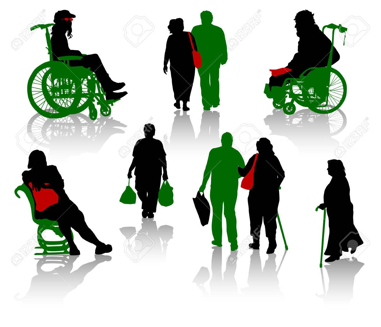 Silhouette of old people and disabled persons Stock Vector - 3626542