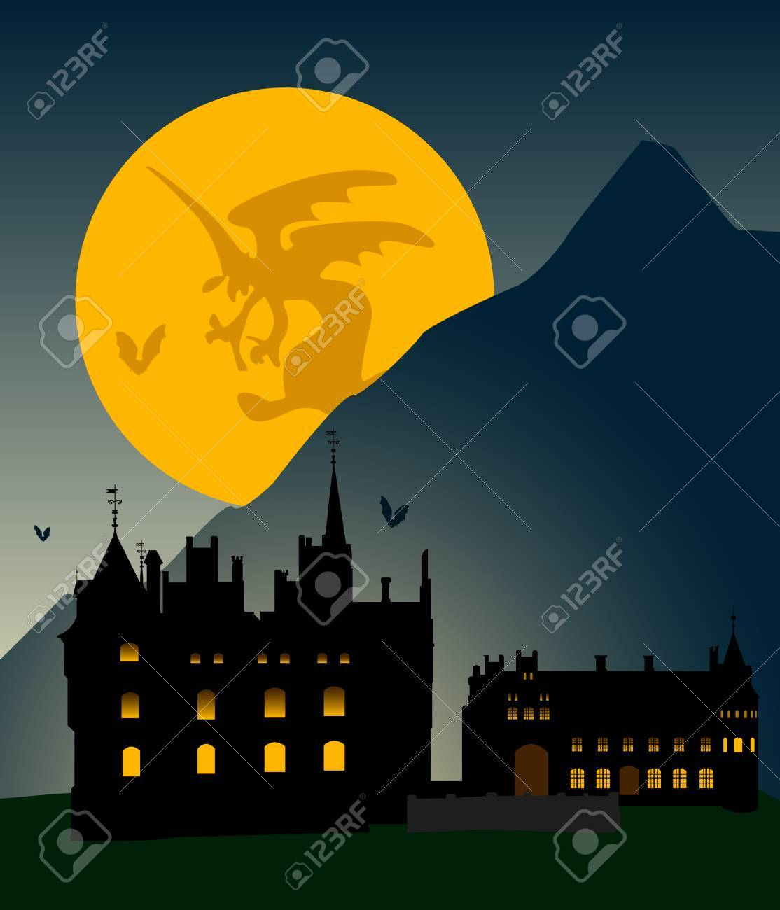 Castle silhouette in mountains against the full moon. Halloween. Stock Vector - 3664898