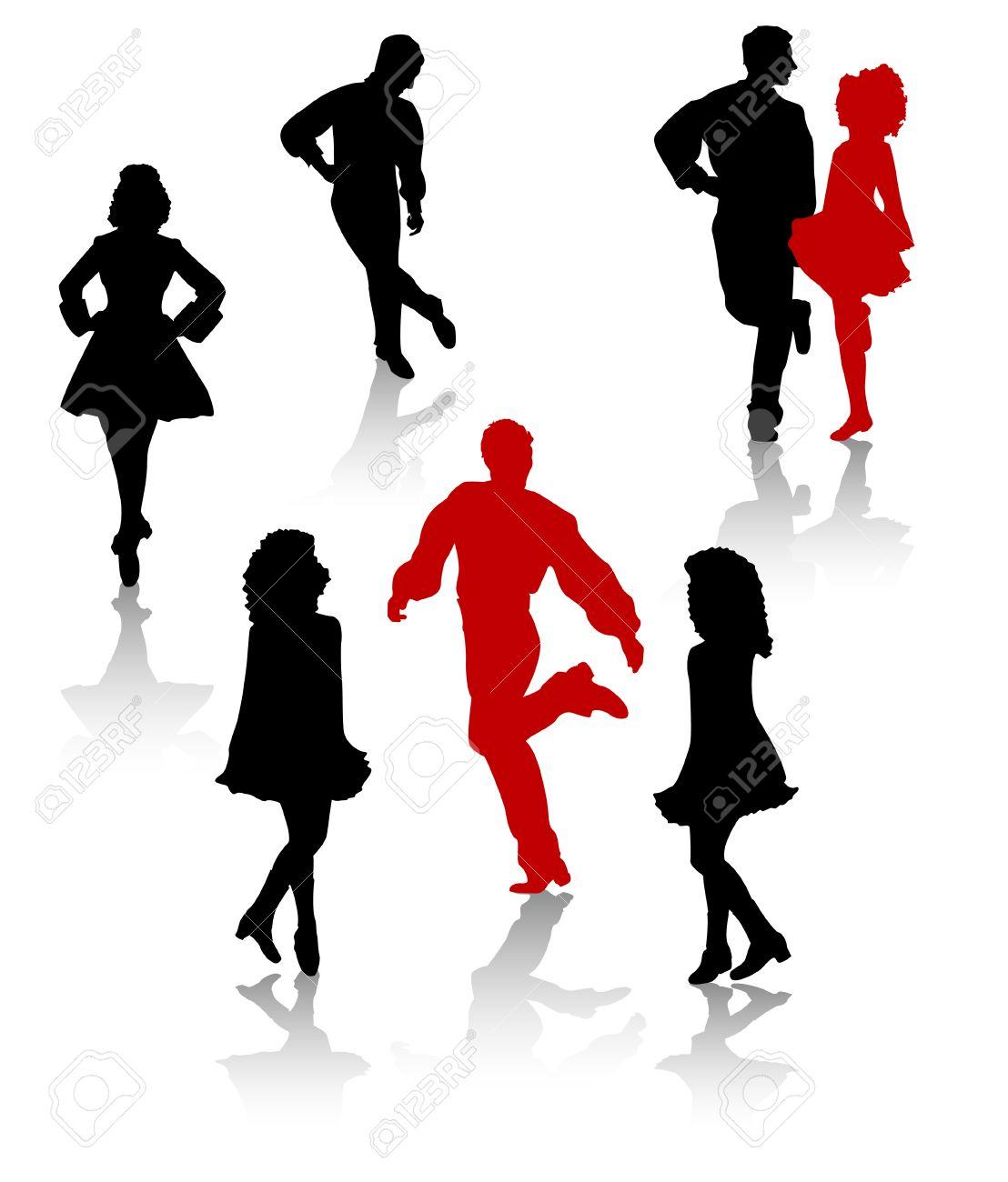 Dancers silhouette of national folk dance of Ireland. Stock Vector - 4074745