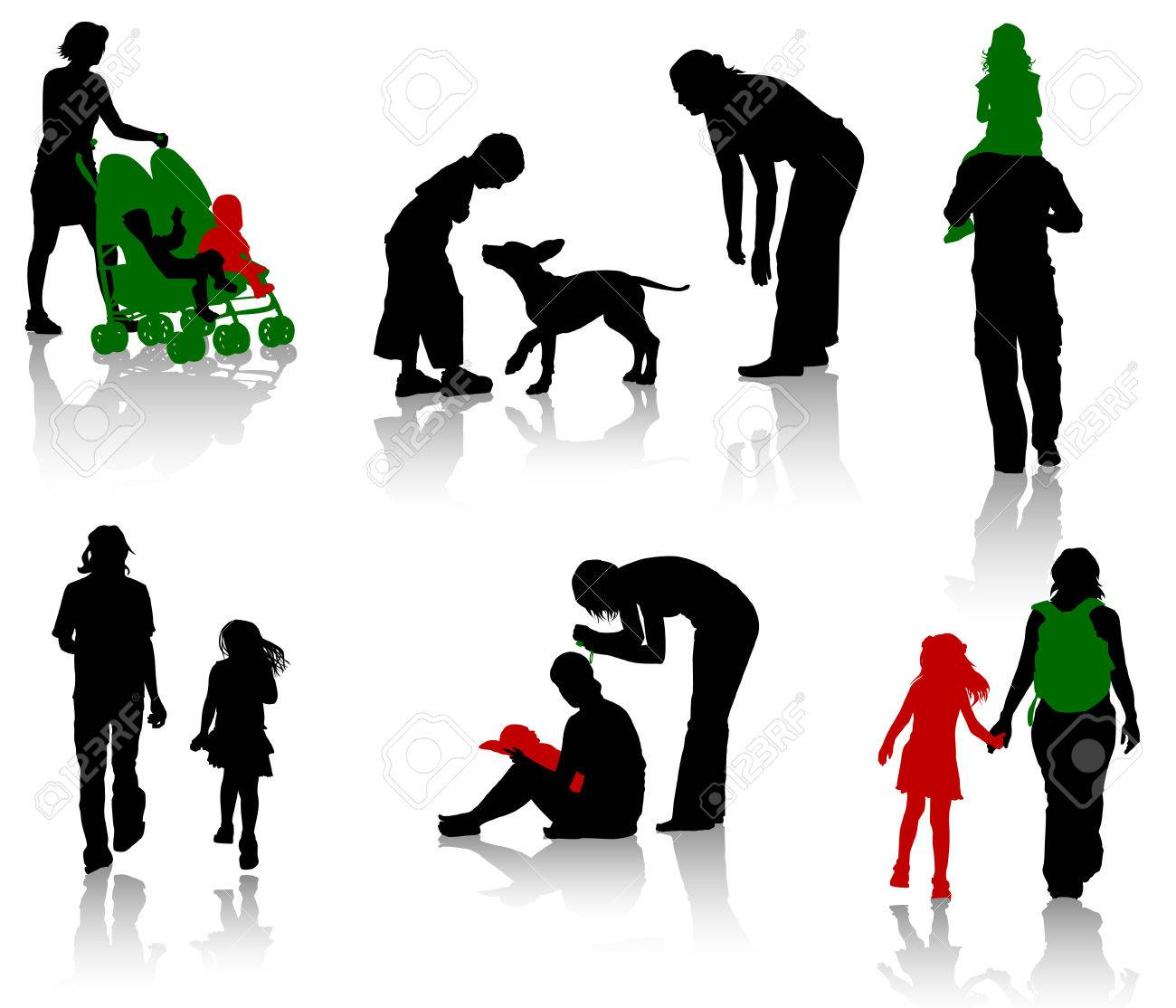 The isolated silhouettes of parents with children. Stock Vector - 4165849