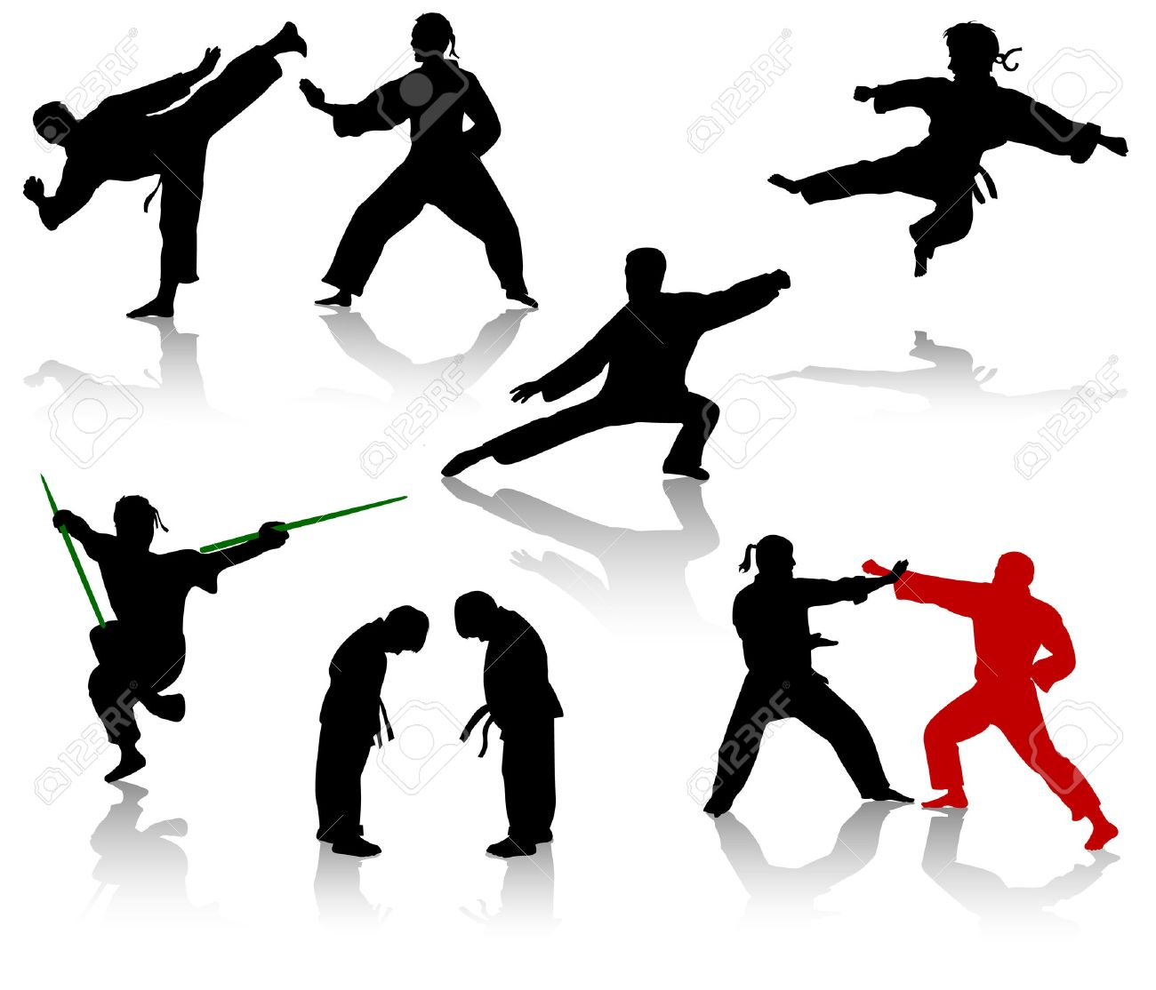 Silhouettes of people in positions of karate and taekwondo Stock Vector - 4296506