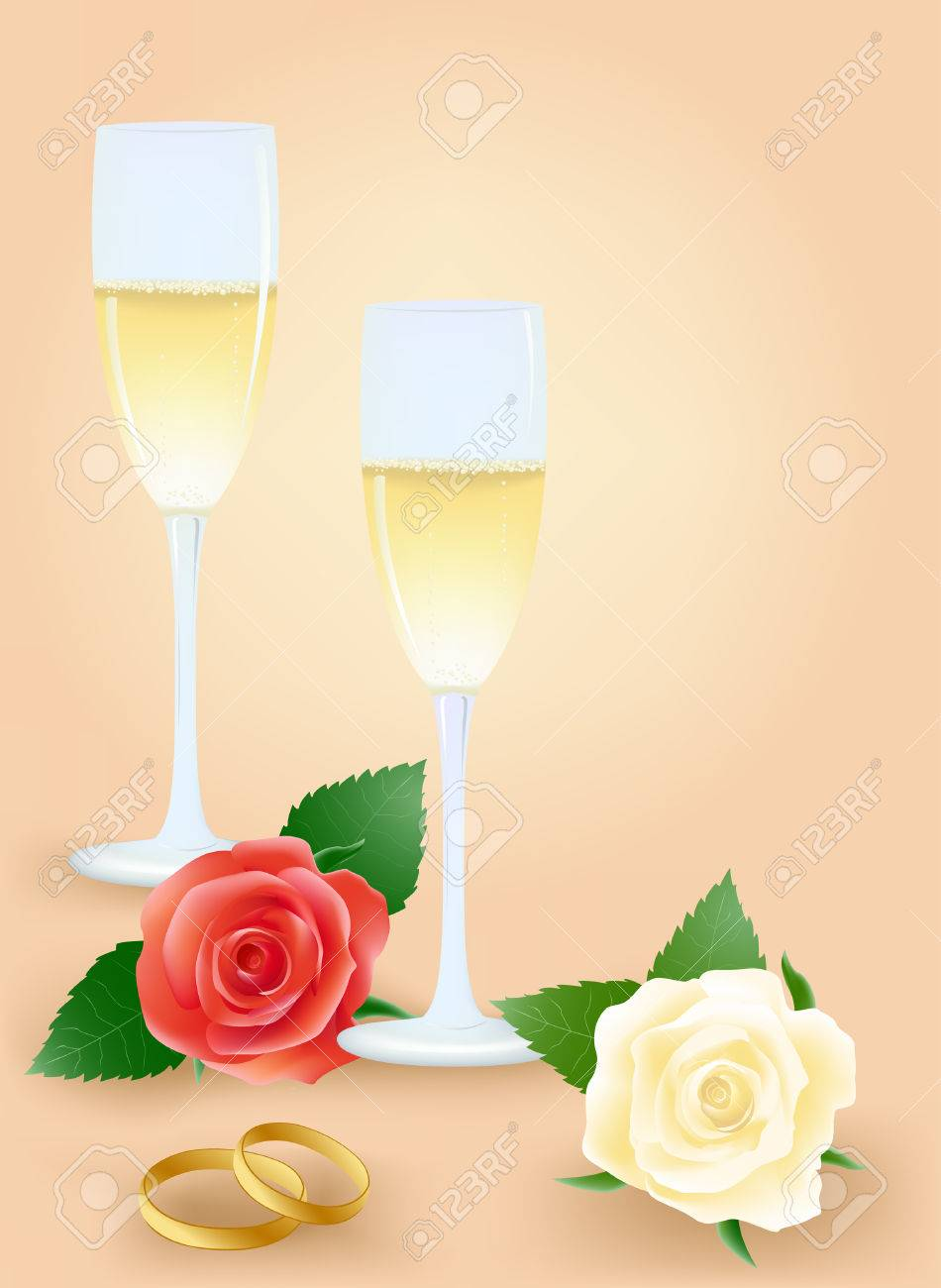 Wedding still life with roses and champagne Stock Vector - 4296510