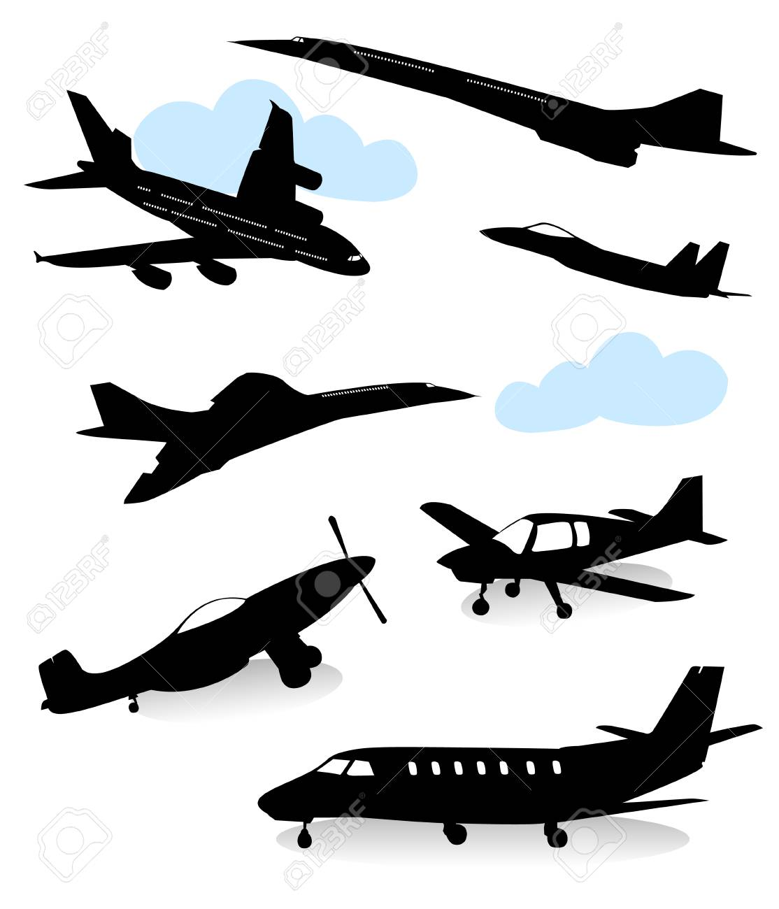 Collection of silhouettes of various planes Stock Vector - 4328908