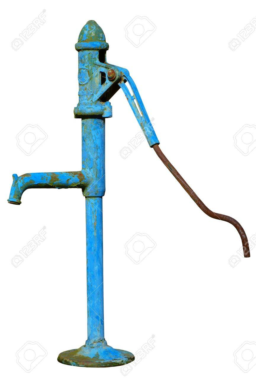 The old fashioned hand water pump isolated on a white background