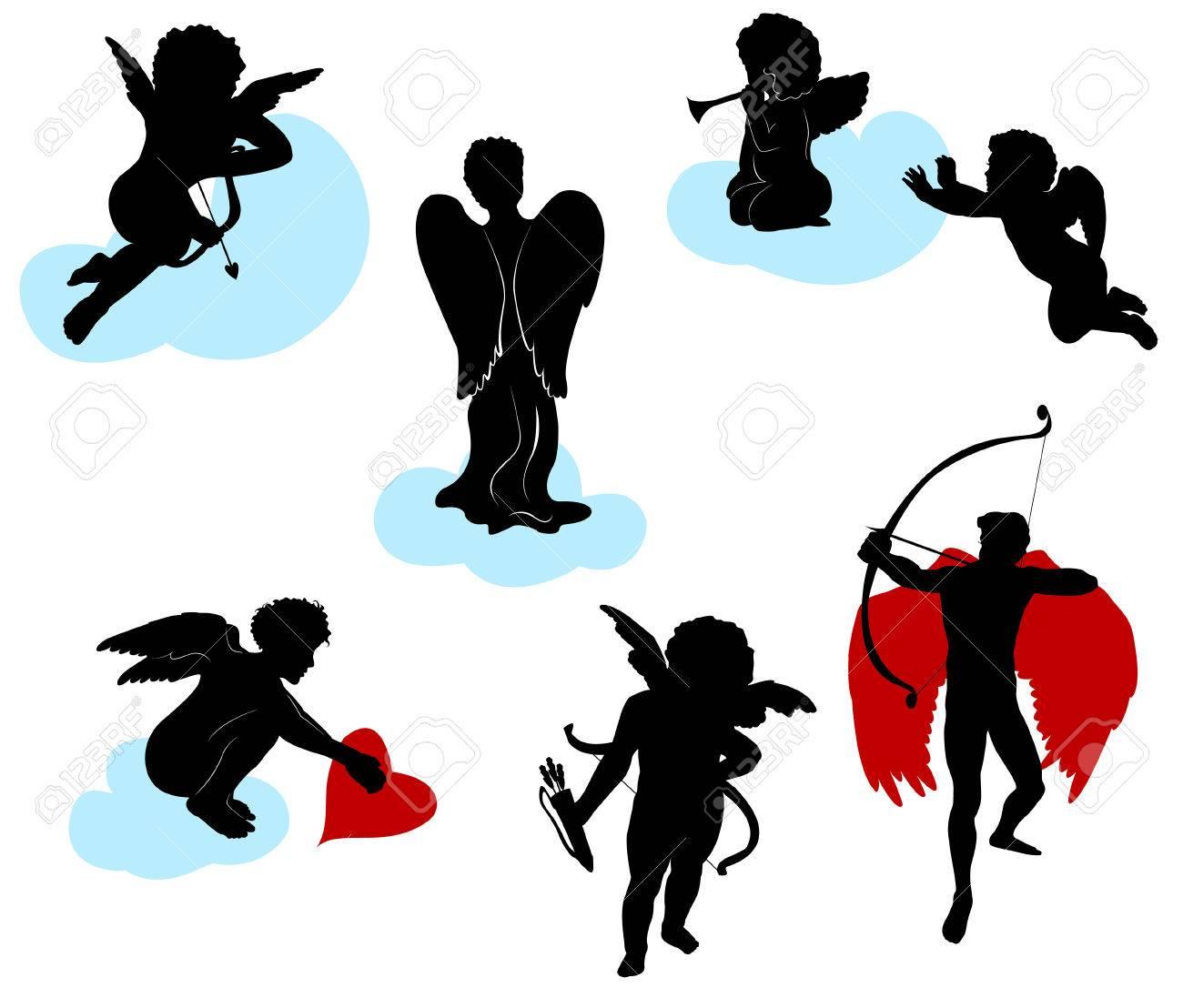 Siluetas De ángeles, Querubines Y Cupidos Ilustraciones Vectoriales ...