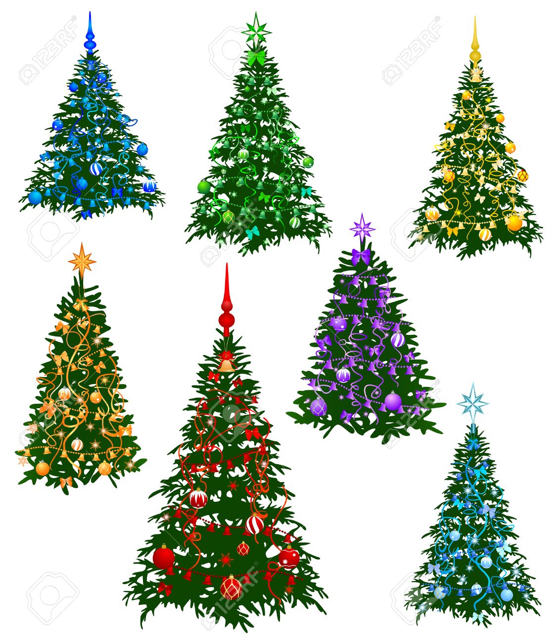 The Image Of The Seven Christmas Fur-tree Decorated By A Holiday ...