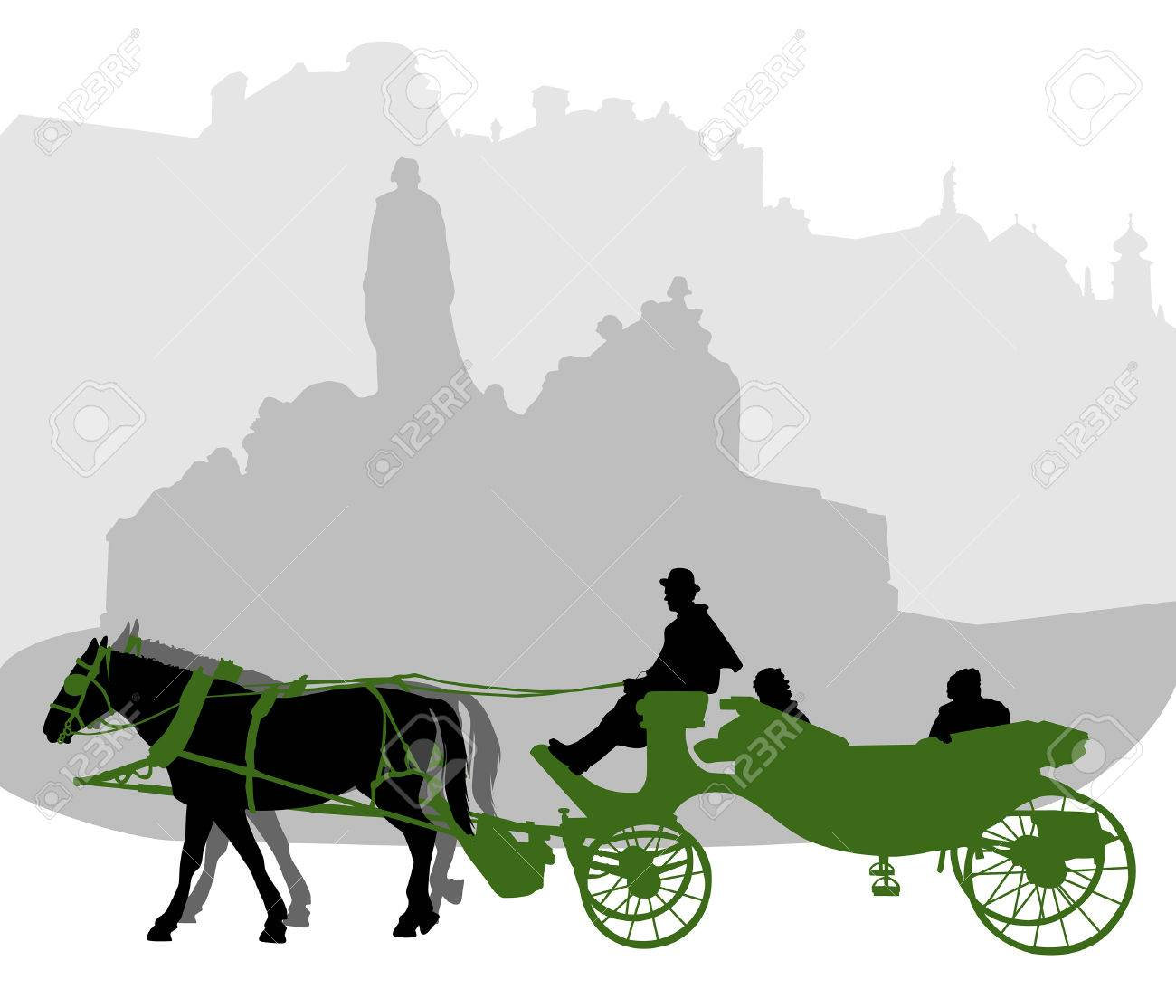 Silhouette of a carriage in Old Town Square in Prague near the monument to Jan Hus Stock Vector - 8660810