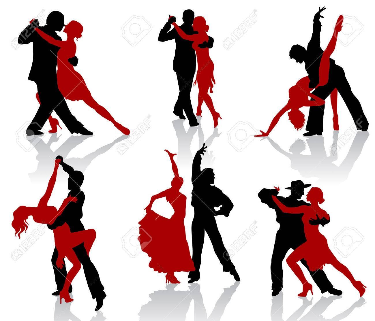 社交ダンスのダンスのペアのシルエットタンゴのイラスト素材ベクタ